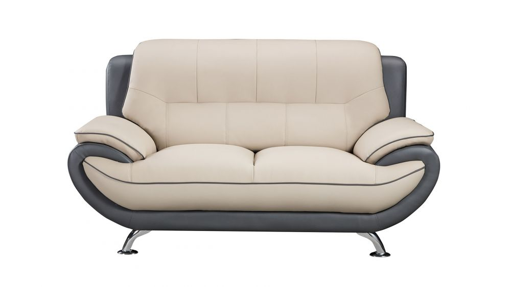 AE208 LIGHT/DARK GRAY FAUX LEATHER LOVESEAT