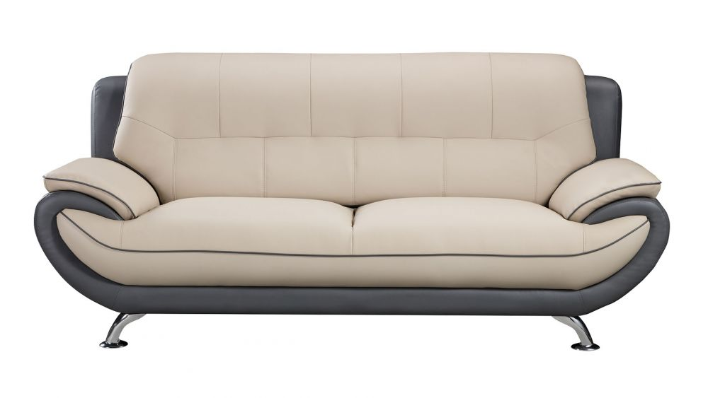 AE208 LIGHT/DARK GRAY FAUX LEATHER SOFA