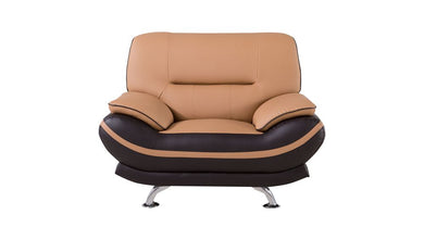 AE709 LIGHT/DARK BROWN FAUX LEATHER CHAIR