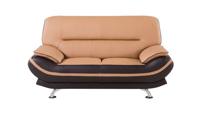 AE709 LIGHT/DARK BROWN FAUX LEATHER LOVESEAT