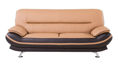 AE709 LIGHT/DARK BROWN FAUX LEATHER SOFA