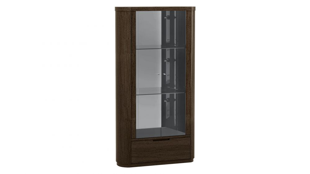 P115 DARK WALNUT FINISH VITRINE