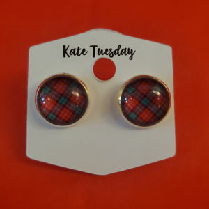 Red and Green Plaid Stud Earrings
