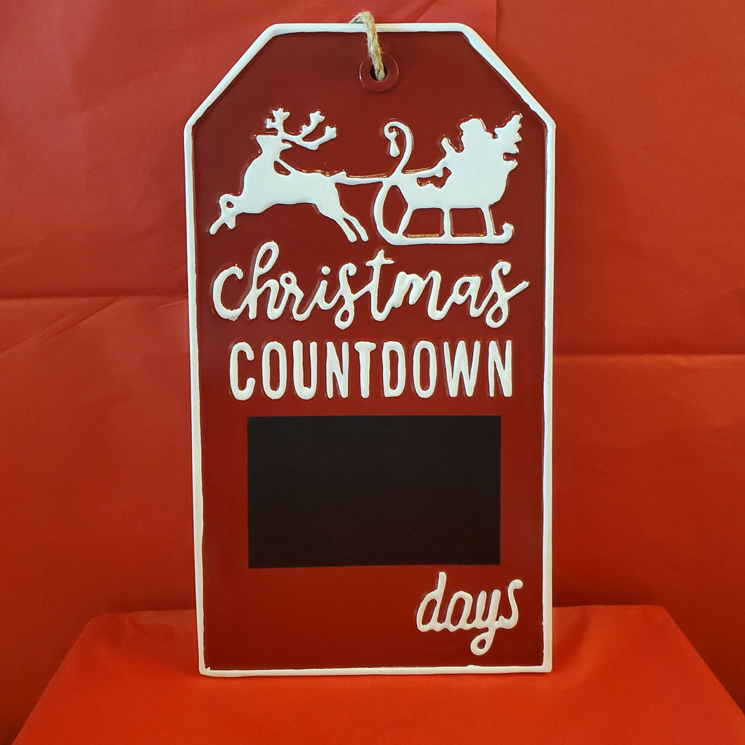 Christmas Countdown Metal Wall Sign w/ Chalkboard