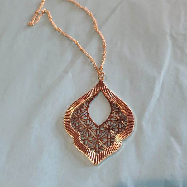 Thin Metal Filigree Lace Necklace
