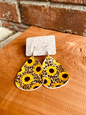 Sunflower Faux Leather Earrings (4 Styles)
