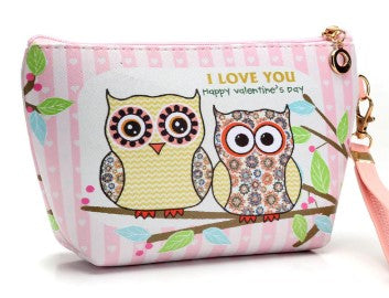 trousse coton cuir hibou chouette couple love