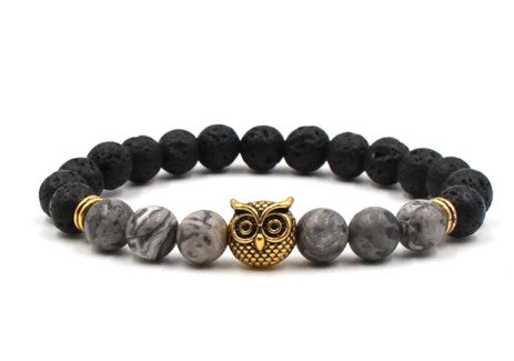 bracelet hibou or pierre volcanique naturelle
