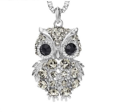 beau collier pendentif luxe hibou chouette