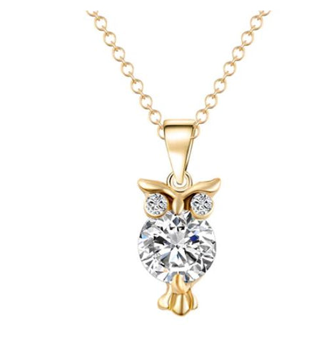 collier hibou or zircon
