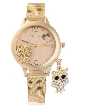 montre hibou or