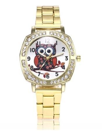 belle montre hibou or strass pas cher