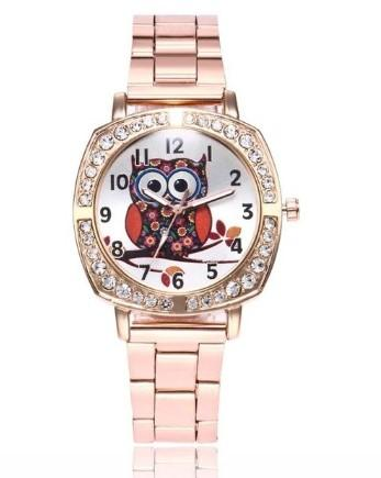 montre chouette hibou or rose zircon metal