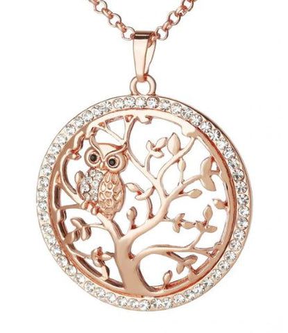 pendentif or rose zircon hibou strass femme luxe