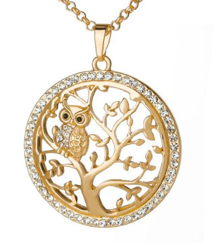 collier arbre de vie hibou or