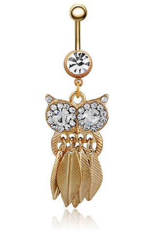 piercing nombril hibou or et strass