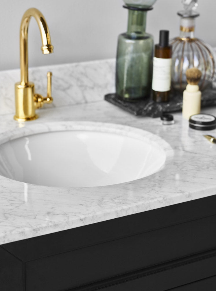 Chantel 1500 Double Black Vanity White Carrara Marble Top