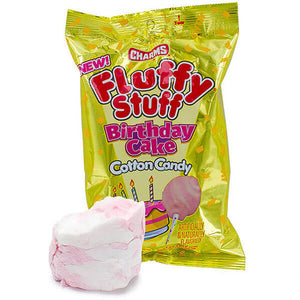 CHARMS FLUFFY STUFF BIRTHDAY CAKE COTTON CANDY 2.1 OZ X 24 UNITS