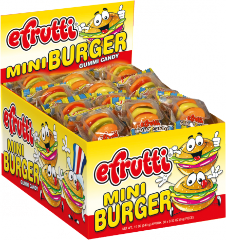 EFRUTTI GUMMI MINI BURGERS (WRAPPED) 60 UNITS