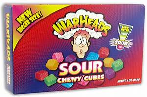 THEATER BOX WARHEADS CHEWY CUBES 4 OZ (12 UNITS)