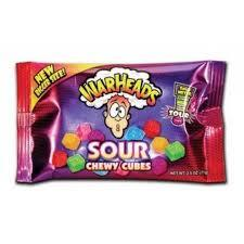WARHEADS SOUR CHEWY CUBES 2.5 OZ STANDARD SIZE (X15 UNITS)