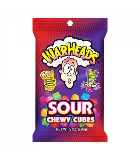 WARHEADS SOUR CHEWY CUBES PEG BAG (12 UNITS)