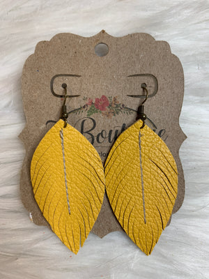 Small Sewn Leather Feather Earring