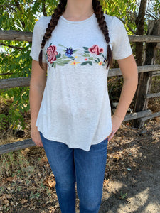 Oatmeal Floral Embroidered Tee