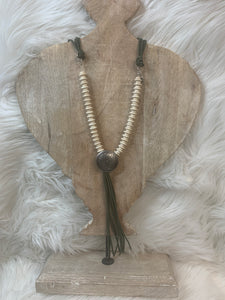 Olive Buffalo Concho Necklace