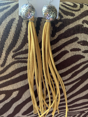 Concho Leather Tassle Earrings