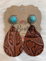 Druzzy Studd & Tooled Leather Earring