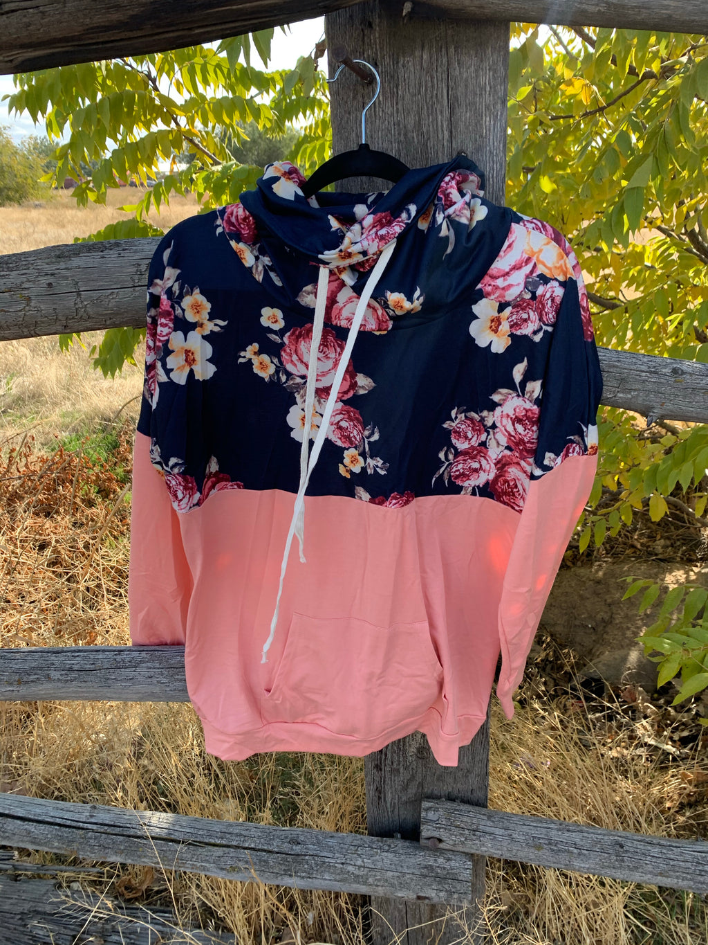 Pink Floral Cowl Sweater