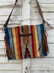 Tan Serape Buckstitch Tote