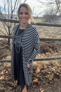 Black/White Striped Mid length Cardigan