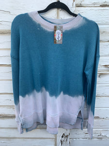 Teal Distressed Sweater (SMALL)