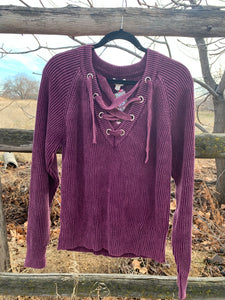 Mineral Washed V Neck Sweater - Berry