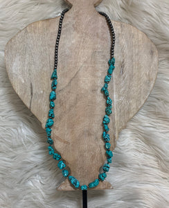 Turquoise Stone Cluster Necklace