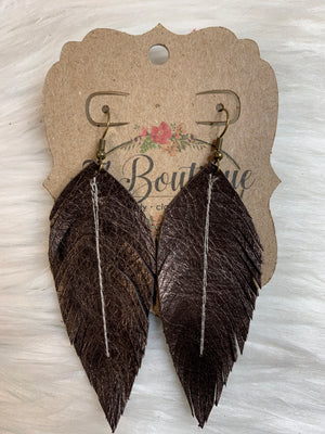 Medium Sewn Leather Feather Earring