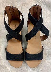 Black Leopard Wedge