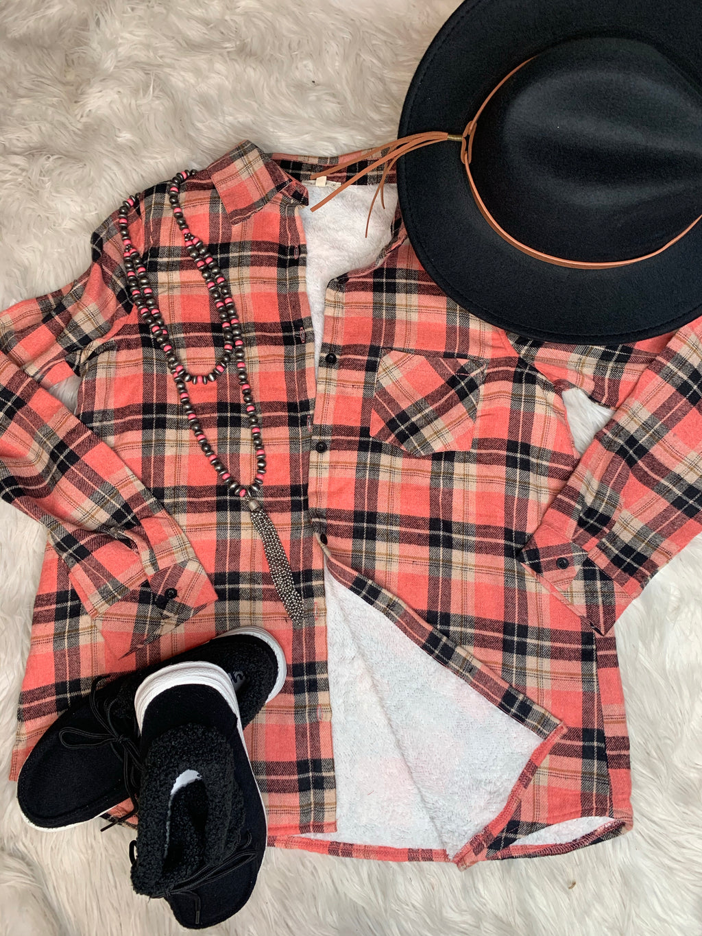 Coral/Black Lined Flannel