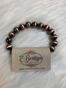 Shiny Bronze Beaded Bangle