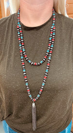 Metal Bead Tassle Necklace