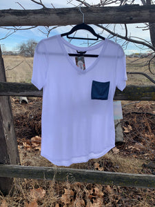 V Neck Tee w/ Denim Pocket