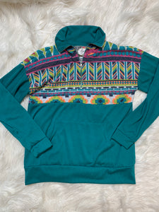 Teal Geometric Half Zip