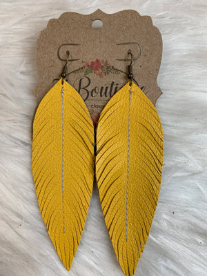 Long Sewn Leather Feather EArring
