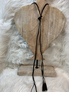 Adjustable Brown Leather Braid Necklace