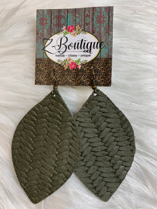 Basket Weave Leather Earring