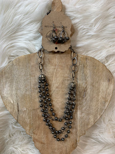 Charcoal Crystal Necklace Set
