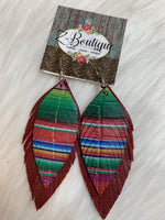 Double Feather Leather Earring