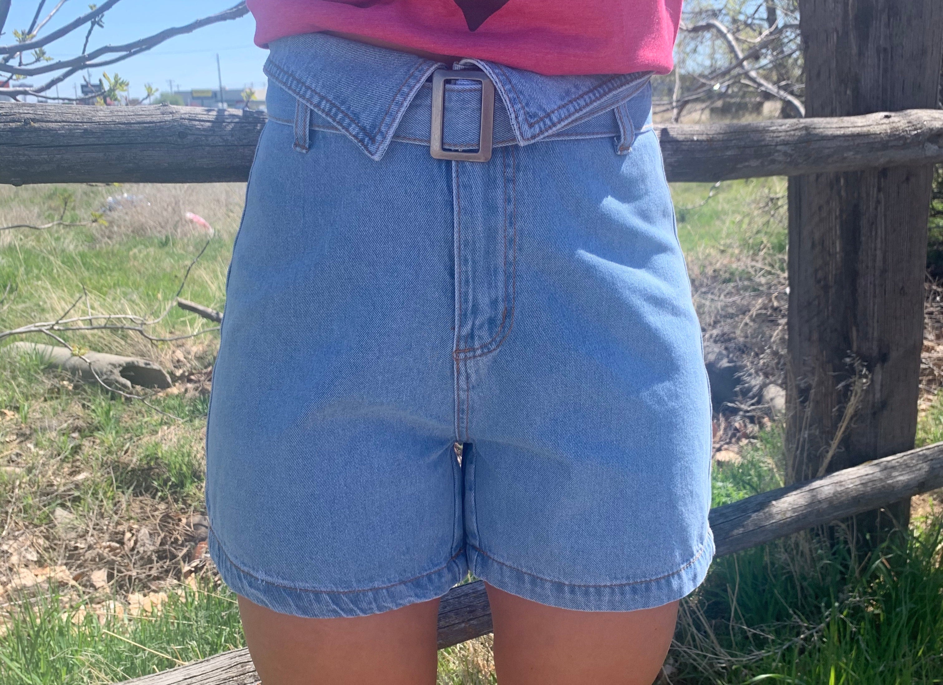70's High Waist Belted Short